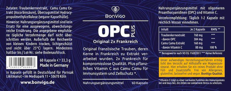 OPC Traubenkernextrakt aus franz. Trauben plus Vitamin C Camu Camu