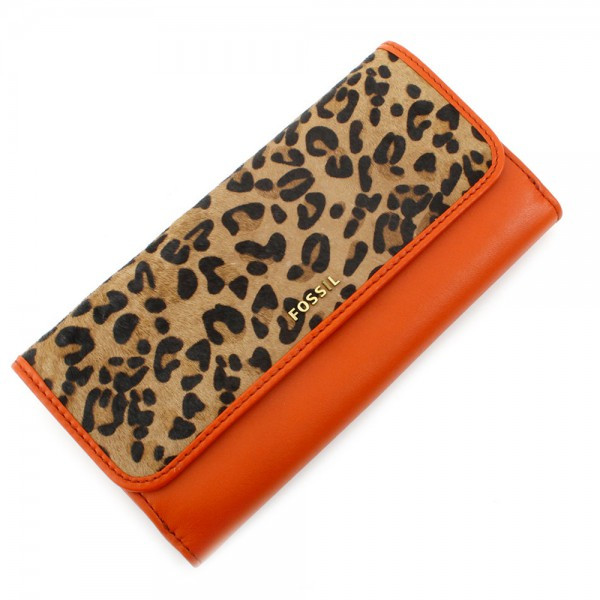 Memoir Hair Calf Flap Checkbook - Orange