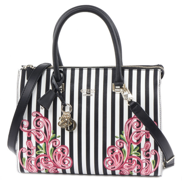 Arianna - Box Satchel - Black Stripe