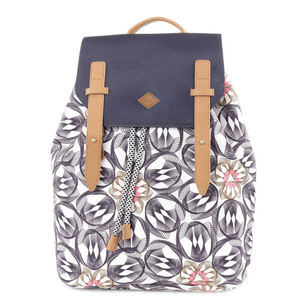 Flower Swirl Backpack - Charcoal