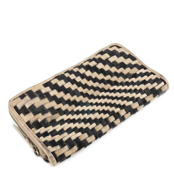 Cow Weaving Zip Around Wallet - Sand