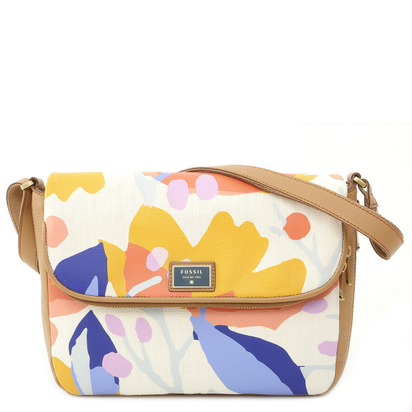 Preston - Fabric Flap Crossbody Bag - Light Floral