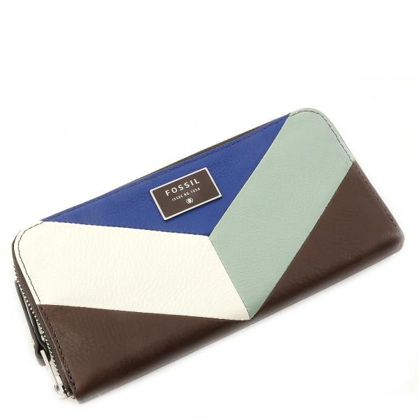 Dawson Leather Colorblock - Zip Clutch - Blue Multi