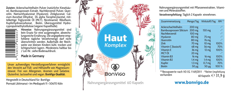 Etikett BonVigo reine gesunde Haut mit Hyaluronsäure Bambus Ackerschachtelhalm Zink und Vitaminen