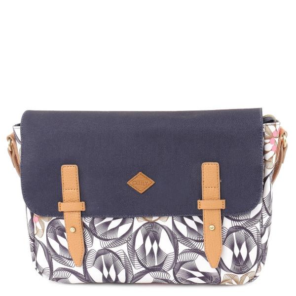Flower Swirl M Schoulder Bag - Charcoal