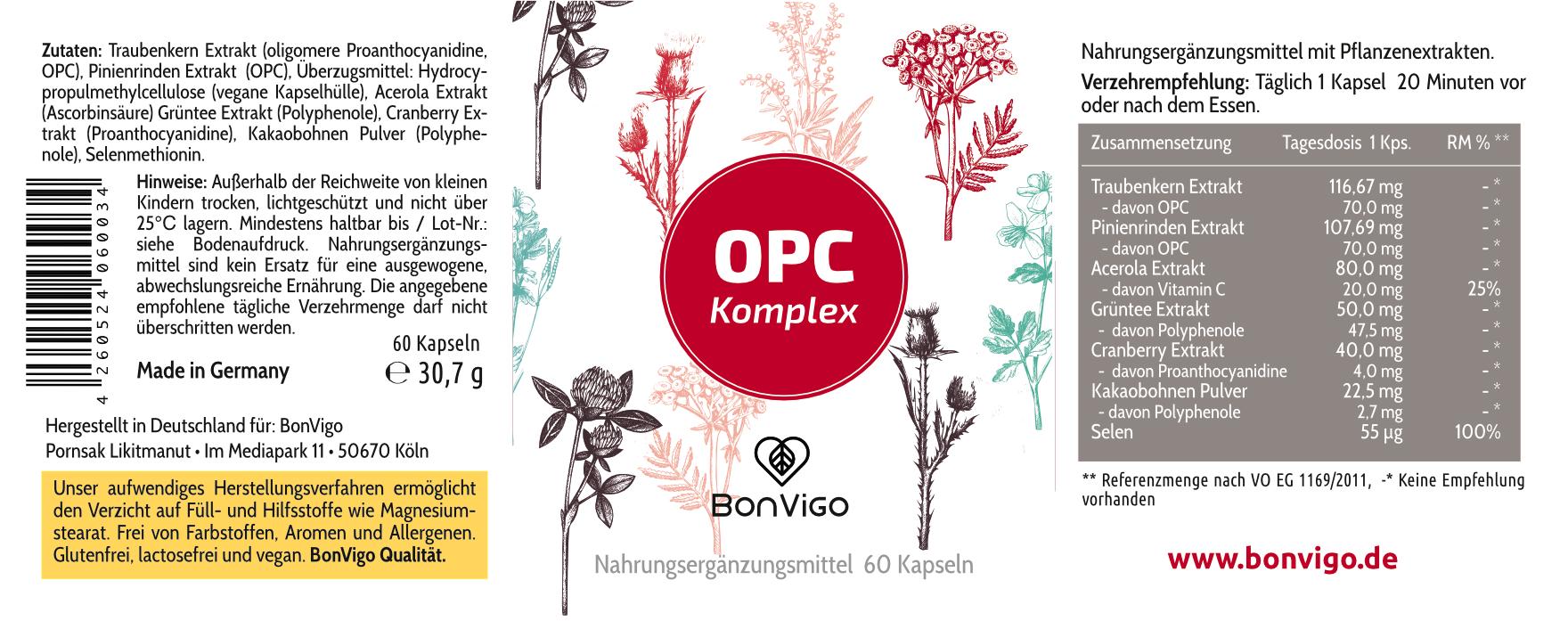 Etikett BonVigo OPC Natur Komplex Lady Linie