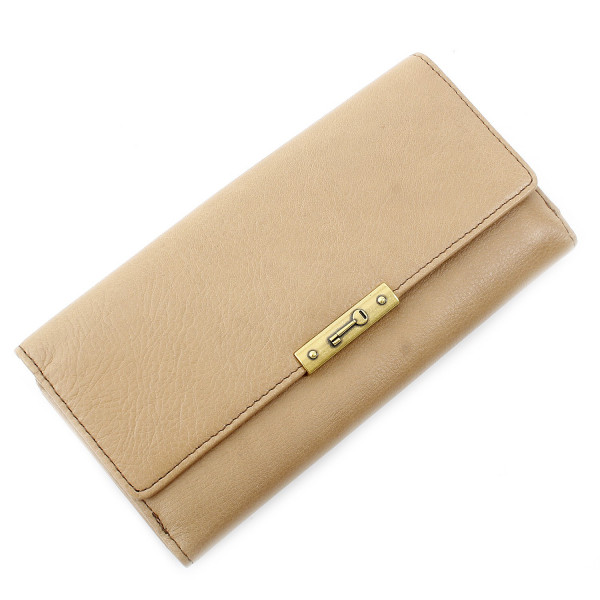 Knox Leather Flap Clutch - Beige