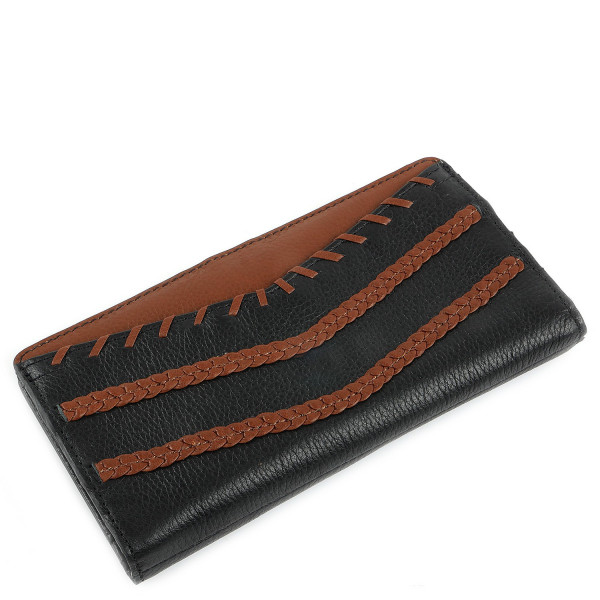 Caroline Slim Bifold Wallet - Black/Brown