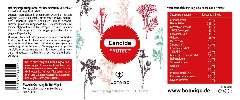 Etikett Candida Protect BonVigo Natur Komplex