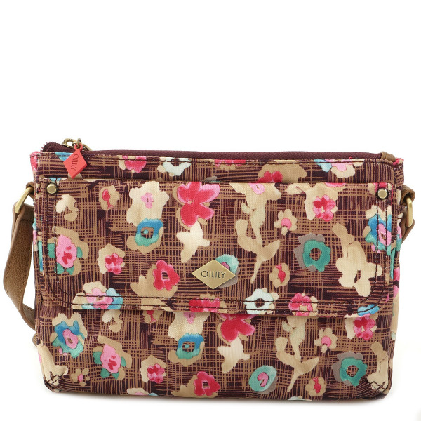 Etch Flowers - XS Flat Schoulder Bag - Brownie