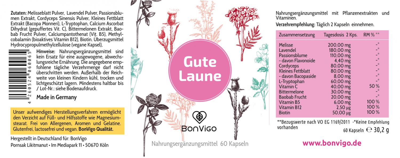 Etikett Gute Laune mit Melisse Lavendel Passionsblume L-Tryptophan und Vitaminen
