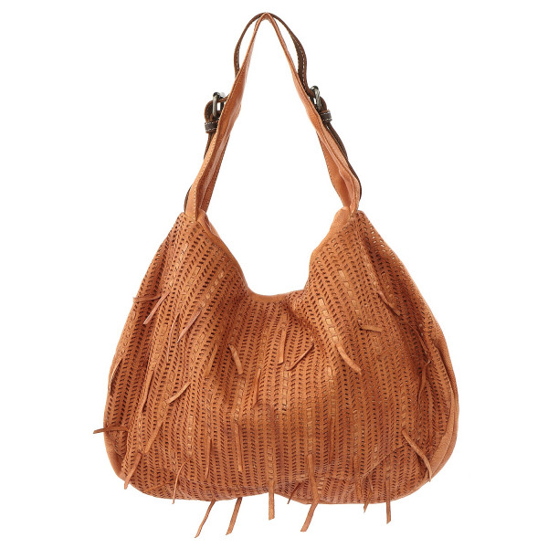 Cow Crust Medium Hobo - Tan