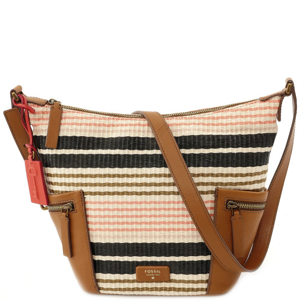 Emerson Fabric - Small Hobo - Pink Stripe