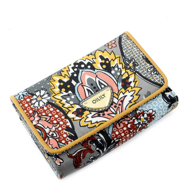 French Paisley S Wallet - Grau
