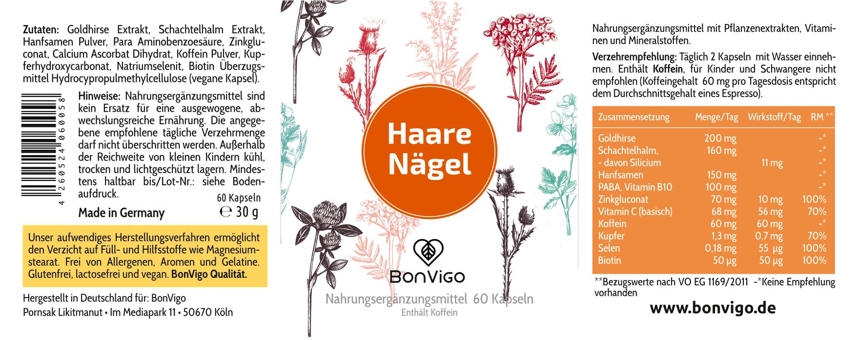 Etikett BonVigo Haare Nägel mit Goldhirse Schachtelhalm Koffein Hanfsamen und Vitaminen