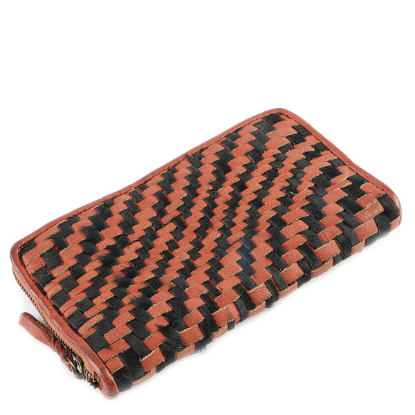 Cow Weaving Zip Around Wallet - Rost