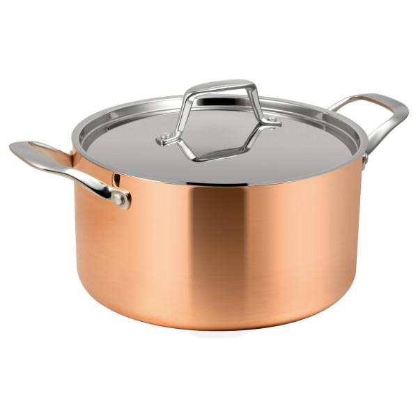 Premium-Kochtopf Kupfer 3-Schicht - Beste Wärmeverteilung, kochen wie die Profis