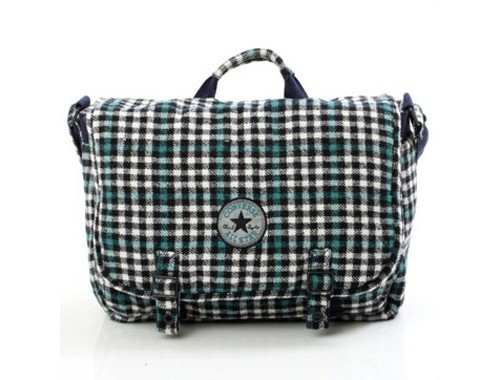 Checked Shoulder Bag Green Blue