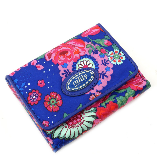 Funky Roses - Small Wallet Blue