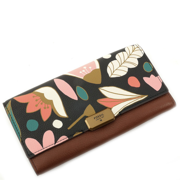 Emerson Flower Print Flap Clutch - Dark Floral