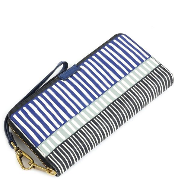 Emma Large Zip Clutch - Navy Stripe